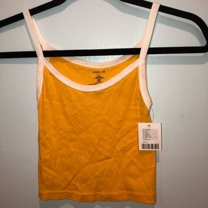 Urban Outfitters Crop Yellow and White Tank Top